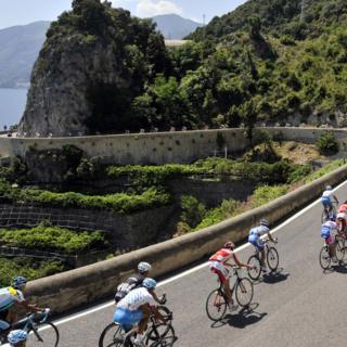 Cyclists pass through the province of Avellino during the 92nd Giro d'Italia cycle race.