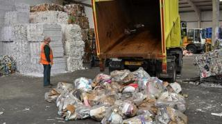 Guernsey kerbside recycling being delivered for sorting and baling