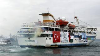 Mavi Marmara leaves from Sarayburnu port in Istanbul 22 May 2010