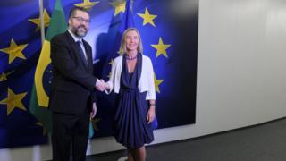 Ernesto Araujo e Alta Representante da UE para Política Externa e Segurança Federica Mogherini