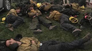 Firefighters sleeping in California