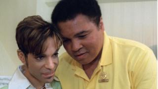 Boxing great Muhammad Ali, right, embraces the Artist Formerly Known as Prince, during a meeting in Washington Tuesday, June 24, 1997