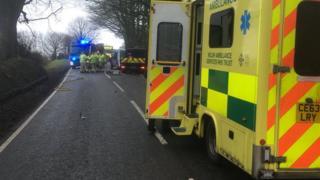 The crash scene on the A478