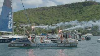 Legless crossing the finish line in Antigua