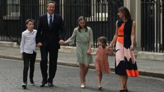 David Cameron leaves Downing St with his familiy