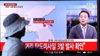Северная Корея также испытала три ракеты в прошедшую субботу