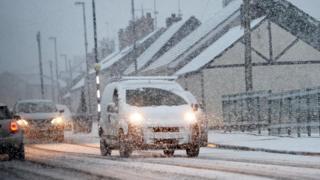 Scene of snow in Northern Ireland