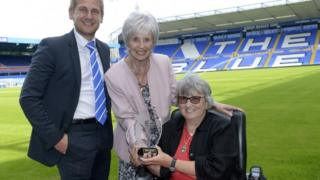 The British Polio Fellowship picture of Head of Commercial at Birmingham City Football Club, Ian Dutton, Dawn Clements and Pam Jones of The British Polio Fellowship