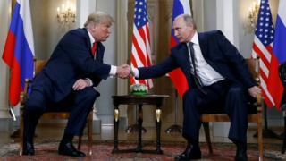 Трамп и Путин рукопожатие