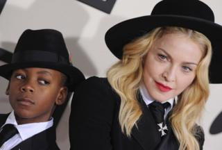 Madonna with her son David Banda Mwale Ciccone Ritchie at the 56th GRAMMY Awards in Los Angeles, California