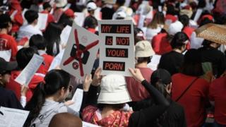 Women protest hidden camera pornography in Seoul, July 2018