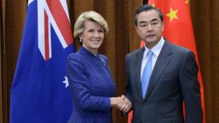 Australia's Foreign Minister Julie Bishop with her Chinese counterpart Wang Yi