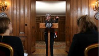 Prime Minister Theresa May making a statement on Syria