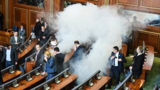 Tear gas released in Kosovo's parliament in Pristina. 14 Dec 2015