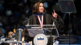 US Senator Kamala Harris gave the convocation oration for the 2017 Howard University commencement ceremony