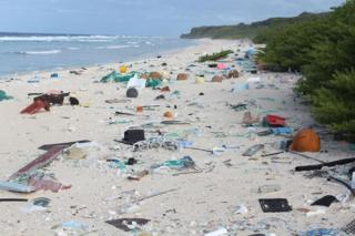 Rubbish strewn across East Beach on Henderson Island.