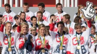Team GB Hockey team including captain Kate Richardson-Walsh (R) wave during the Olympics and Paralympics Team GB Rio 2016 Victory Parade in Trafalgar Square in London