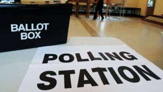 Ballot bopx and polling station sign