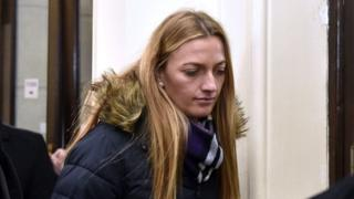 Tennis player Petra Kvitova leaves the Brno Regional Court after testified in the case of Radim Zondra on February 5, 2019, in Brno, Czech Republic