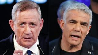 "Combo image of former Israeli chief of staff Benny Gantz (L) and Yair Lapid, chairman of Israel""s ""Yesh Atid"" party"