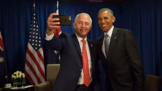 "Australia's prime minister has taken a ""farewell selfie"" with outgoing US President Barack Obama."
