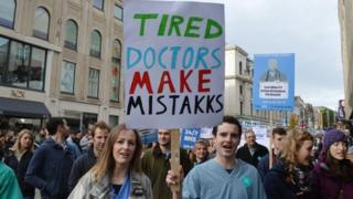 Junior doctors and their supporters taking part in a march through the centre of Newcastle