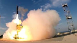 A handout picture released by the Israeli Defence Ministry on 10 December, 2015, shows the launch of an Israeli Arrow 3 missile, at an undisclosed location in southern Tel Aviv