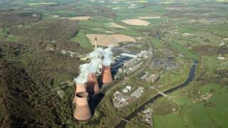 Aerial view of the cooling towers