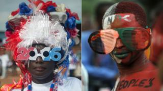 L: An opposition NPP party supporter in 2016 glasses A supporter of the NDC in big painted glasses in 2012