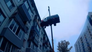 Birthday surprise van on a crane, Biysk, Siberia, September 2017