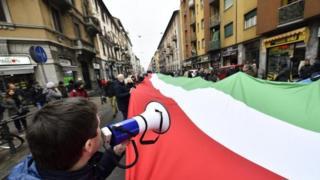 Italian flag at political rally