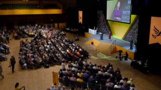 Jo-Swinson-gives-a-speech-at-the-Liberal-Democrat-party-conference.