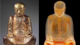 Рентгенограмма показала наличие останков человека в деревянной статуе