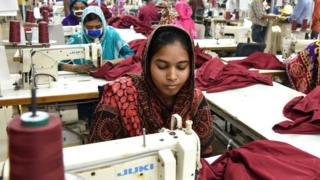 Garment workers in a factory in Savar outside Dhaka