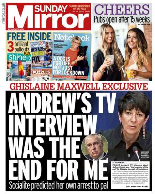 The Daily Mirror front page 05.07.20