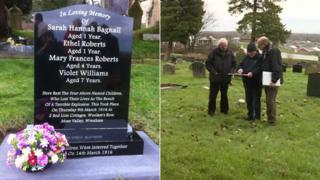 The commemorative gravestone (l) and local historians Robert Webb, Mike Gross and Phil Coops at the site of the previously unmarked graves (r)