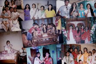 Collage of photos of Puja growing up