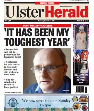 Front page of the Ulster Herald