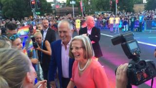 Prime Minister Malcolm Turnbull and his wife, Lucy, at the 2016 Sydney Gay and Lesbian Mardi Gras