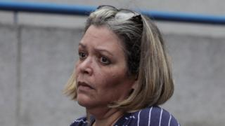 Venezuelan judge Maria Afiuni pictured outside her house after news of her release broke on 5 July 2019