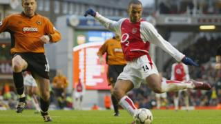 Thierry Henry takes a shot