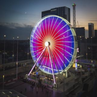 A long exposure photograph of The Big Wheel