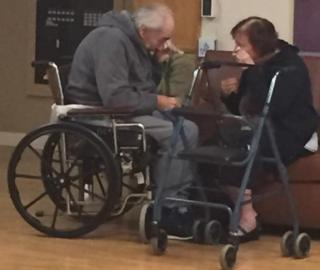 Wolfram (L) and Anita Gottschalk (R) are seen reuniting after being forced to live in separate nursing homes.