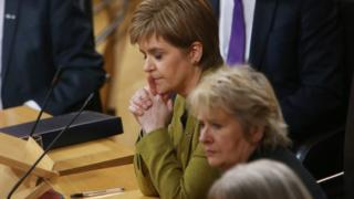 Nicola Sturgeon with other MSPs in Holyrood