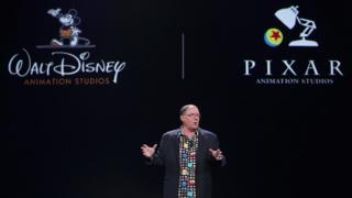 Chief Creative Officer of Walt Disney and Pixar Animation Studios John Lasseter on stage in 2015
