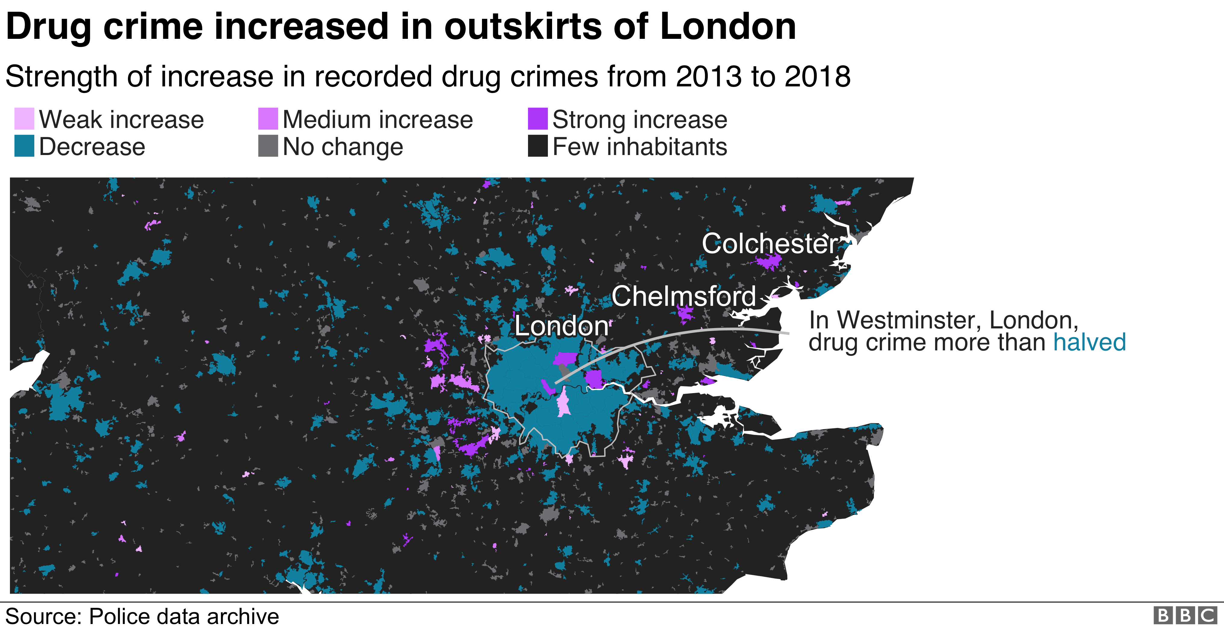 Map showing drug crime in the south east