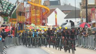 The peloton ride during the third stage of the 2016 Tour de Yorkshire between Middlesbrough and Scarborough