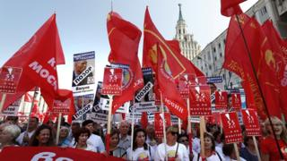 Russian communists take part in protest rally against a government proposed pension reform plan in Moscow, 2 September 2018