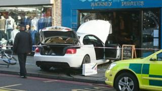 Car crashed into Hackney Pirates store front