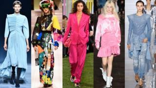 从左到右: 纪梵希Givenchy, 杜嘉班納Dolce + Gabbana, 爱斯卡达Escada, MSGM, 巴曼Balmain